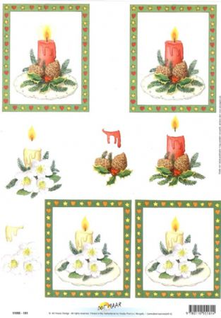 Christmas Candle Designs 3d Decoupage Sheet